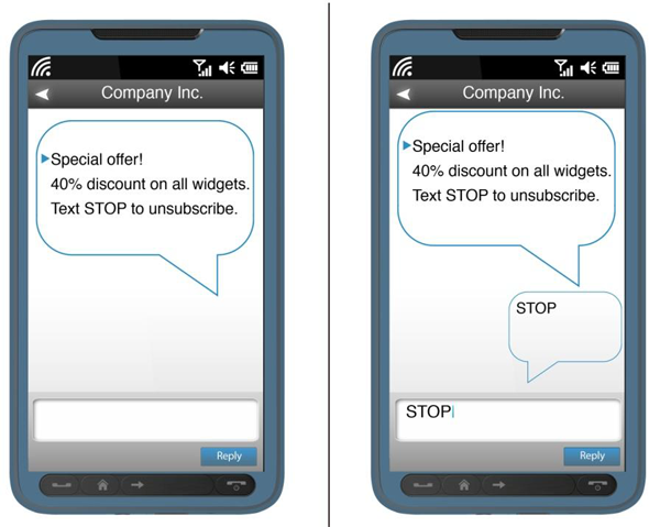This is an example of an unsubscribe mechanism by text message. The text from Company Inc. says- Special offer! 40% discount on all widgets. Text STOP to unsubscribe. To submit your consent, reply to the text message with the word STOP.