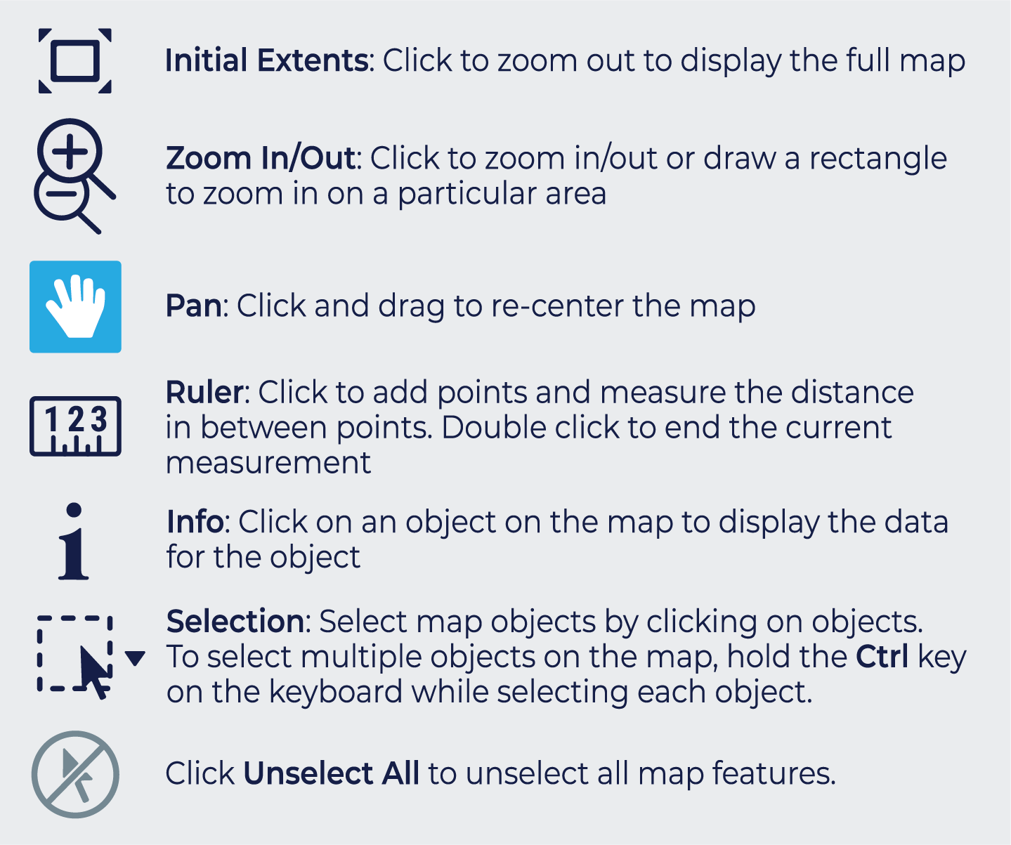 Screenshot of the mapping tools from CartoVista. Explanatory infographic outlining the main individual selection tools available from the CartoVista map.
