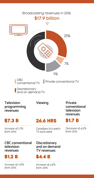 Infographic summarizing section 4.2 – Television sector
