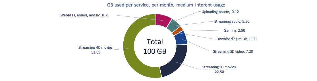 Circular graph of Figure 2.0.12: GB used per service, medium usage