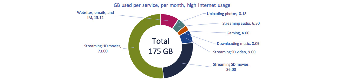 Circular graph of Figure 2.0.13: GB used per service, high usage