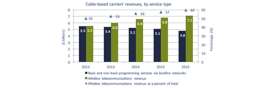 Column chart of Figure 3.0.5: Cable-based service provider revenues by service type