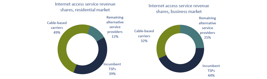 Circular charts of Figure 5.3.10: Internet access service revenue shares, by market and by type of service provider, 2016 (%).