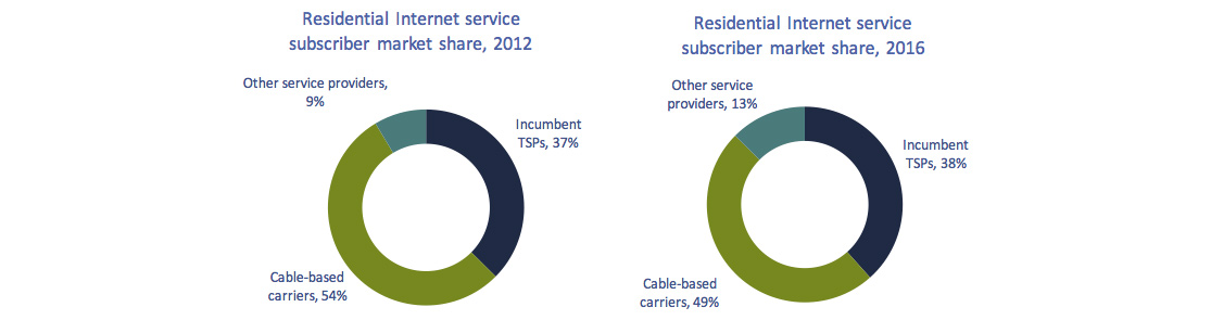 Circular charts of Figure 5.3.1: Residential Internet service subscriber market share, by type of service provider (%).