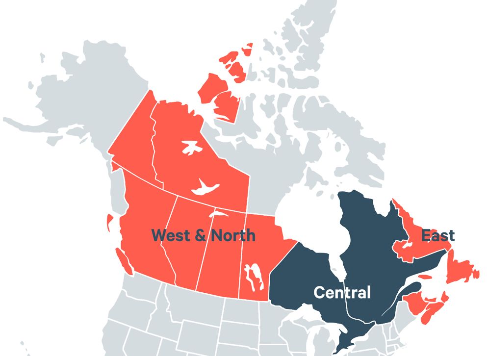 Regional Canada map: West & North, Central and East